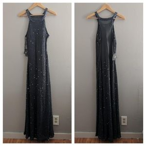 NEW Adrianna Papell Gown Caviar Sheer Back Beaded